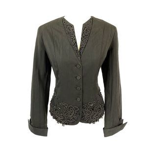 Coldwater Creek Evening Jacket Beaded Black 12P